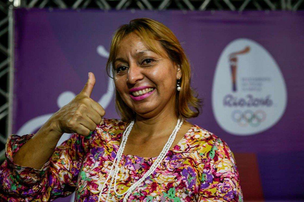 Condutora Franciná Lira na coletiva de divulgação da rota da Tocha Olímpica em Manaus
